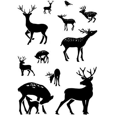 CARD-IO COMBINATIONS Clear Stamps DEAR DEER CCSTDEE-02 11 Stamps Bird Stag Doe