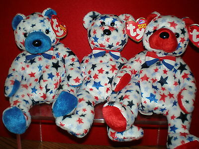 Ty Patriotic Bears Stars Blue Red White And Blue Red Beanie Baby Babies Mwmt