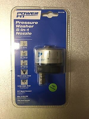 Power Fit Pressure Washer 5-in-1 Nozzle Fits most brands, Max 3100 PSI