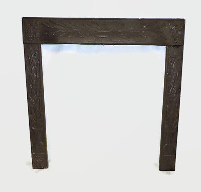 Antique Cast Iron Fireplace Insert Cover Frame Flower Cattails Daisy Tulips