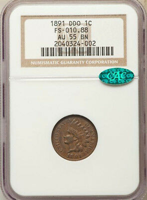 1891 DDO * Snow-1 Doubled Die * NGC AU55 * CAC * INDIAN Head Cent 1c $360+ ERROR