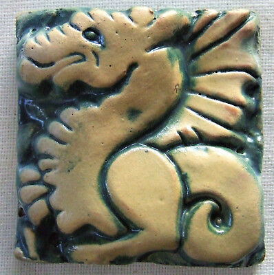 Early Moravian Pottery Tile Dragon Griffin Antique Mercer Arts Crafts Craftsman