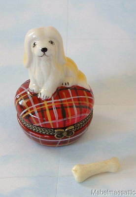 New Handpainted Lhasa Apso Puppy Dog on Red Plaid Porcelain Hinged Trinket Box