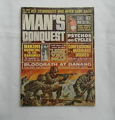 MAN'S CONQUEST December 1965 Pulp Magazine – Red Cosmonauts /Bloodbath at Danang