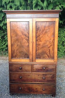Victorian Mahogany Flame Linen Press Armoire Wardrobe