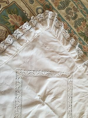 Antique  Pillowcase/sham 1900 French White cotton Embroidery Bobbin Lace