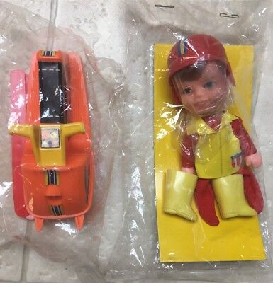 1970 Remco Finger Ding Adventure Boy And His Snowmobile Skis Sealed-No Box-