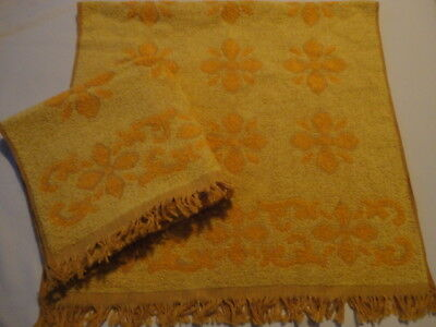 2 New Vintage 1970's Fringed Bath Towels Gold Floral Embossed Made in The USA
