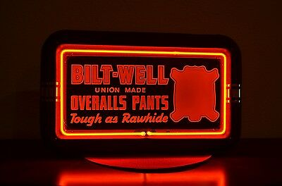 Vintage Bilt Well Overall Pants Neon Point Of Sale Light Up Sign Unfindable Nice