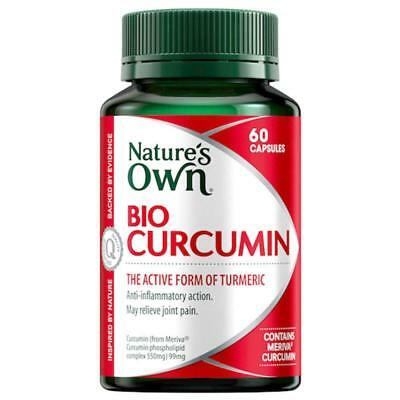 Nature's Own Bio Curcumin 60 Capsules Turmeric Active Form Joint Pain Natures