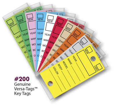 Versa -Tags Dealer Key Tags (Box of 250 Includes Rings)