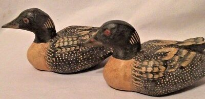 """Hand Carved & Painted Miniature Wood Loon Decoy 6 1/2"""" long 2 pc twins antiqued"""