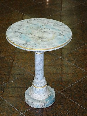 VINTAGE 50's ITALIAN CARRERA BLUE MARBLE OCCASIONAL TABLE PEDESTAL