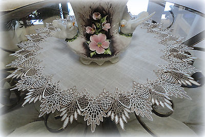 "24""  Doily FEATHER LACE Neutral Earth Tone Table Topper Scarf"