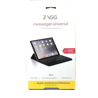 Zagg Keyboard Stand Universal Messenger 12In Ipad Pro Air 5Th Gen New Zgunm2-Bku