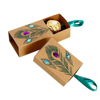 50X Kraft Paper Peacock Feather Boxes Drawer Design Wedding Favors Gift Boxes J