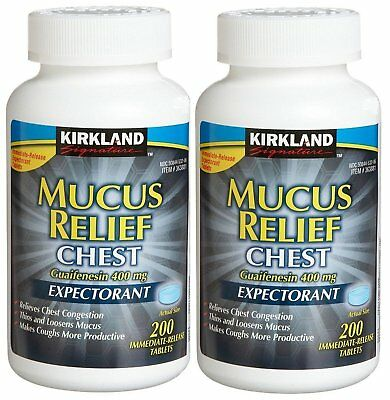 Kirkland Mucus Relief Chest Guaifenesin 400mg Expectorant 400 Tablets Exp 2020