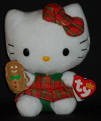 TY HELLO KITTY PLAID CHRISTMAS DRESS BEANIE BABY - MINT with MINT TAG