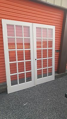 Pair Vintage French Doors Wood 15 PANE EACH  DOOR 35 7/8 x 82 1/2