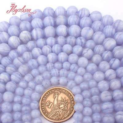 """6-10mm Round Natural Blue Agate Chalcedony Stone Beads for Jewelry Making 15""""DIY"""