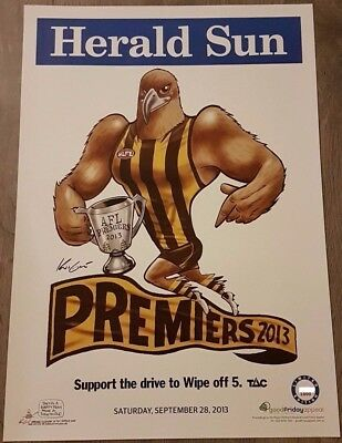 Hawthorn 2013 Afl Limited Edition Premiership Poster Mark Knight Weg #135