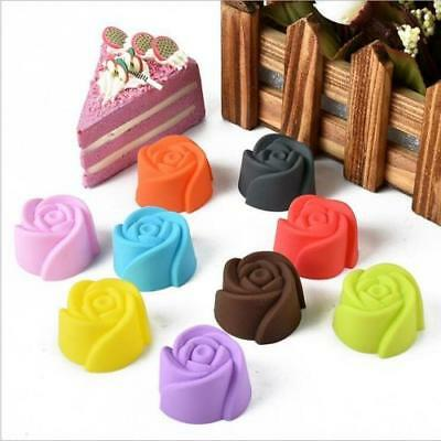 10X Rose Muffin Cookie Cup Cake Baking Mold Chocolate Jelly Mould Affordable