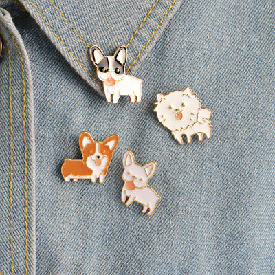 1Pc Cartoon Lovely Super Cute Cat Dog Corsage Collar Metal Brooch Pins Jewelry
