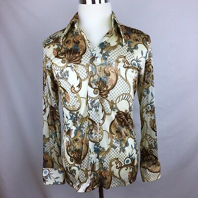 Vtg 70's Swirling Floral Geometric HIPPIE Tapered ART DISCO Nylon DRESS Shirt M