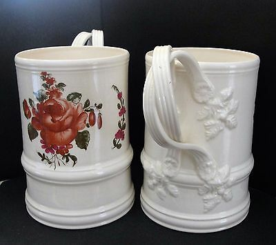Leeds.pottery.lrg.creamware.tankard.mug.floral .decorative.interior.home