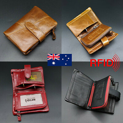 Large Capacity Genuine Leather Mens Wallet RFID Blocking Anti Scan Zip