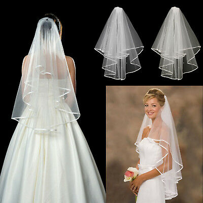 White Ivory 2t Crystal Bridal Wedding Veil with Comb, Elbow length, Satin Edge