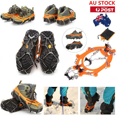 AU Anti-slip Ice Snow Shoes Covers Spike Cleats Crampons Grippers Climbing