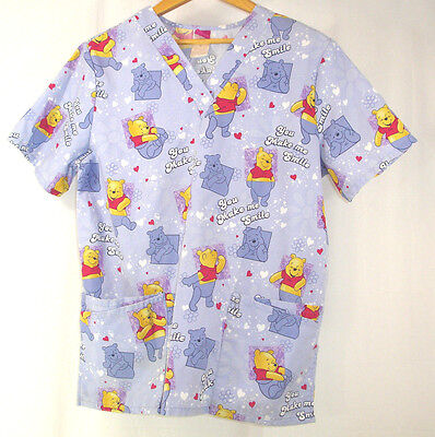 "Disney Winnie the Pooh Blue Scrub Top Sz M ""You Make Me Smile"" Hearts Flowers"