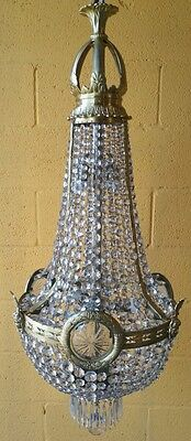 French empire style crystal chandelier laurel wreath  woman faces 5 lights