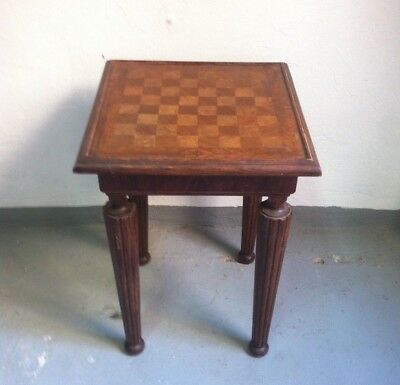 Mid Century Vintage  Chess Game wood side Table Spain 1950s