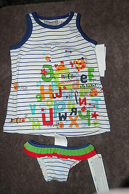 Frilled Striped Bikini Pants with Matching Dress Bobli Age 6 months BNWT