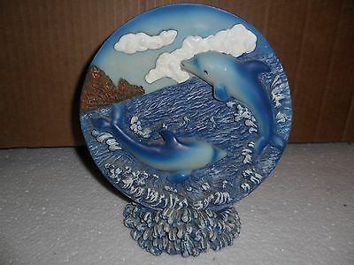 Beautiful 3D Dolphin Family Playing In Coral Resin Figurine Plate Figure Display