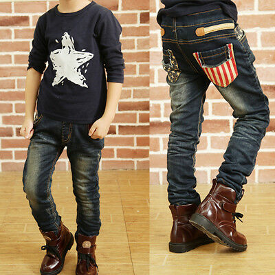DIIMUU Boys Clothing Clothes Pants Kids Boy Denim Jeans Student Trousers Bottoms