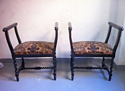 Vintage Spanish Ebonised Wood Renaissance Style Stools 1930s, set of 2.