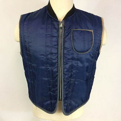 Vintage 70s Work Hunting Vest Jacket Quilted Blue Outdoors Winter L/M Sherpa