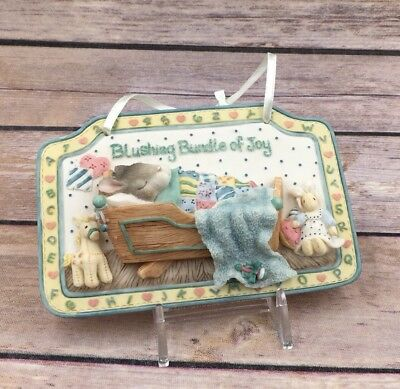 1997 Enesco Blushing Bunnies Bundle of Joy Rabbit Resin Wall Plaque