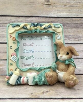 1997 Enesco My Blushing Bunnies New Baby Resin Photo Frame Picture 295760