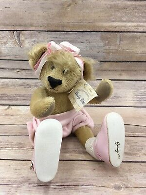 Retired BOASSY BEARS By Delton Mohair Baby Ethel Golden Color Fur Bear Tag Pink