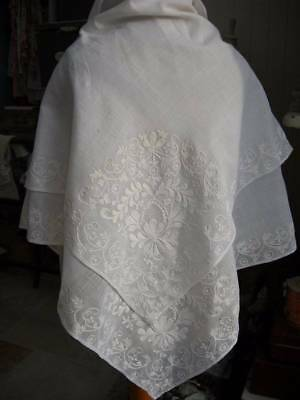Beautiful antique French hand embroidered whitework muslin shawl