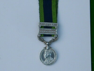 Original Silver India General Service Medal, Two Bars, Miniature. 1908-1935