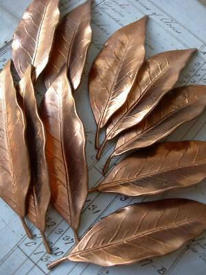 Collection 10 antique vintage French cast copper metal bay leaves - Christmas!