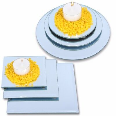 CANDLE BASE PLATES Small-Large Glass Mirror Pillar Tea Light Ornament Stand Dish