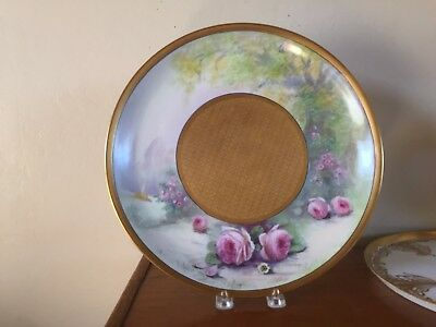 Pickard Hand Painted Charger Roseland Pattern Artist Signed E Challinor 1925
