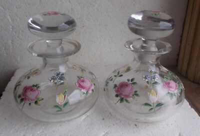 1890s PAIR HAND BLOWN COLOGNE DRESSER BOTTLES & STOPPERS HAND PAINTED PINK ROSES