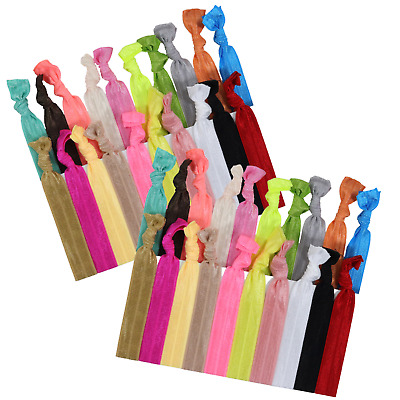 50 Hair Ties Elastic Ponytail Holders No Crease Bands Hand Knotted Accessories